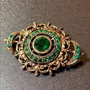 Vintage Gold & Emerald Green Rhinestone Brooch Pin